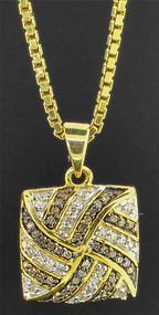 Brown Diamond Intertwine Journey Pendant 10K Yellow Gold 0.26 CT. Charm