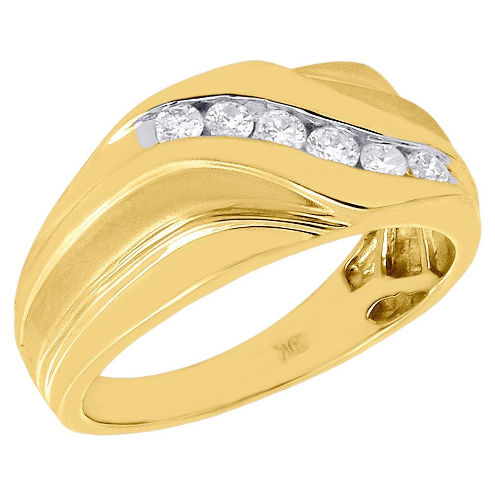 9c3581d3dd9b3 10K Yellow Gold 6 Stone Round Diamond Men's Wedding Band Swirl Ring 0.33 Ct