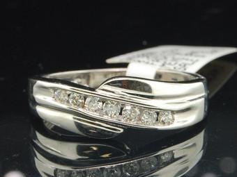 Diamond Wedding Band Mens 14K White Gold Round Cut Design Engagement Ring 1/4 Ct