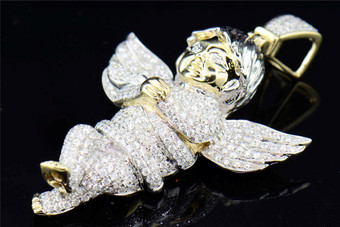10K Diamond Angel Yellow Gold Mens Ladies XXL Cherub Pendant Charm 4.89 CT