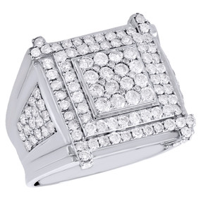 10K White Gold Real Diamond Square Tier Statement Pinky Ring Wedding Band 3 CT.