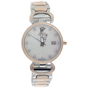 Ladies Aqua Master Diamond Watch MOP 34mm White & Rose S. Steel W#359 0.12 Ct.