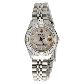 Ladies Stainless Steel Rolex DateJust Jubliee Diamond Watch White MOP Dial 1 CT.