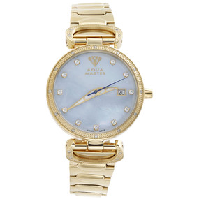 Ladies Aqua Master Diamond Watch Blue MOP 34mm Stainless Steel W#359 0.12 Ct.
