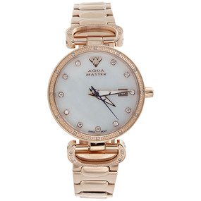 Ladies Aqua Master Diamond Watch White MOP 34mm Rose Stainless Steel 0.12 Ct.