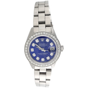 Rolex Oyster Perpetual 6917 Datejust Ladies Steel Diamond Watch Blue Dial 1 CT.