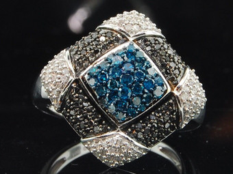 Black & Blue Diamond Cocktail Ring 10K White Gold Fashion Right Hand Band .95 Ct
