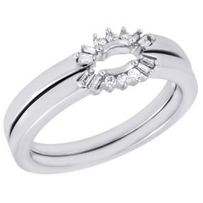 10K White Gold Diamond Ladies Solitaire Engagement Ring Enhancer Wrap .14 Ct.