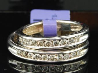 Diamond Duo Set 14K White Gold Round Matching Wedding Band 0.69 Tcw.
