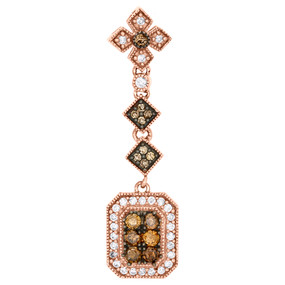 14K Rose Gold Brown Diamond ReCT.angle Flower Pendant  0.50 CT.