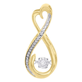 10K Yellow Gold Real Dancing Diamond Infinity Heart Slide Pendant Charm 0.03 CT.