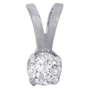 14K White Gold Round Solitaire Diamond Pendant Ladies Necklace 0.25 CT.