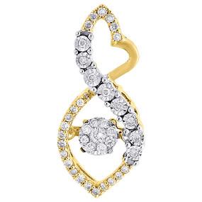 10K Yellow Gold Dancing Diamond Infinity Heart Slide Pendant  0.23 CT.