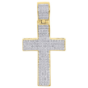 "10K Yellow Gold Genuine Diamond Cross Concave Pendant 1.95"" Mens Charm 0.50 Ct."