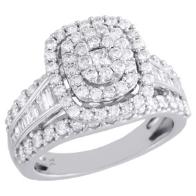 14K White Gold Solitaire Cushion Diamond Engagement Ring Ladies Halo 1.90 CT.