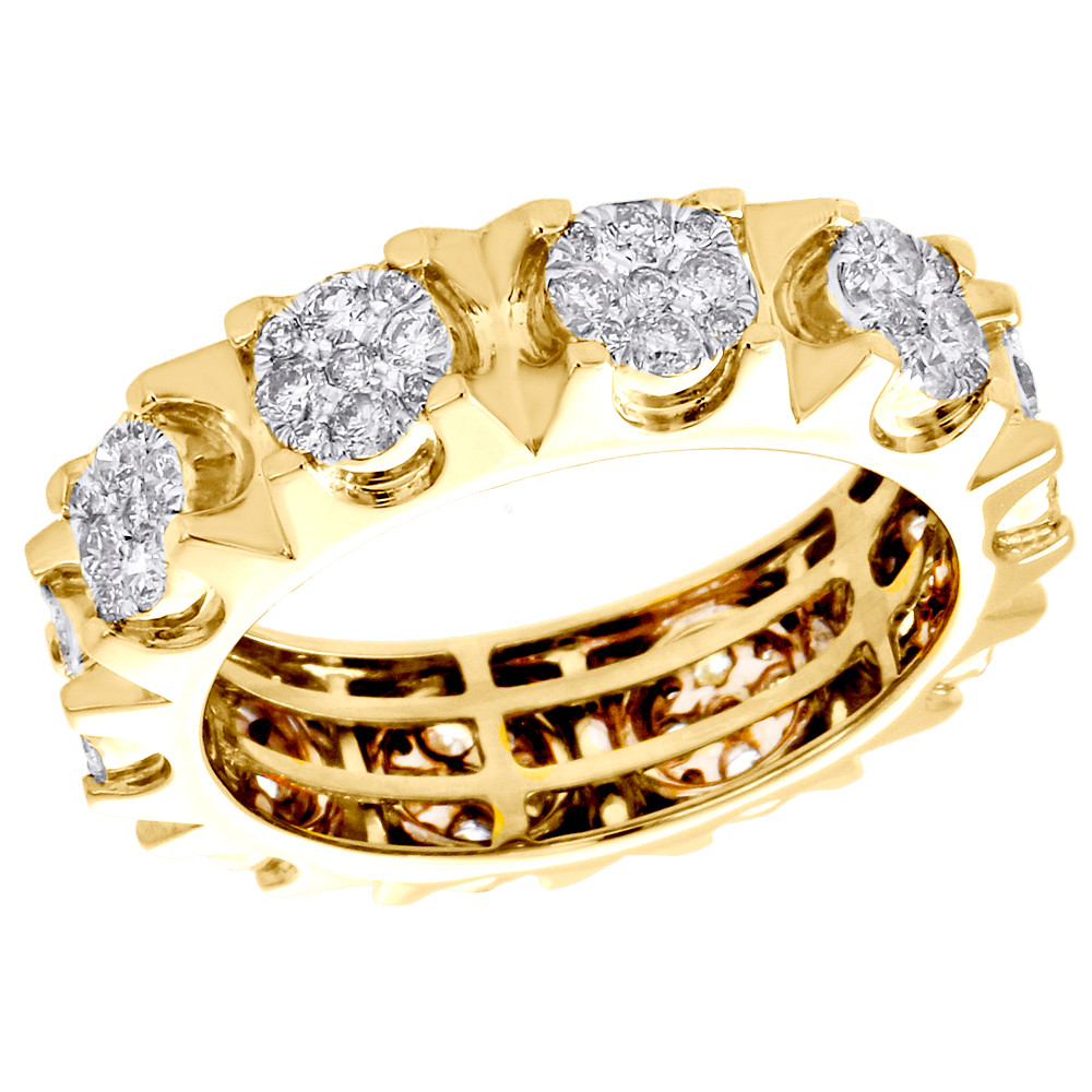 b4fe4b74610 14K Yellow Gold Real Diamond Cluster Wedding Band 7mm Mens Eternity ...