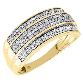 Diamond Wedding Band Men's 10K Yellow Gold 3 Row Round Cut Pave Ring 0.36 Tcw.