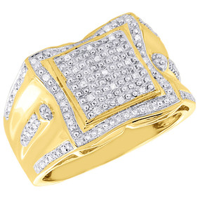 .925 Sterling Silver Mens Natural Diamond Pinky Ring 0.22 Ct.