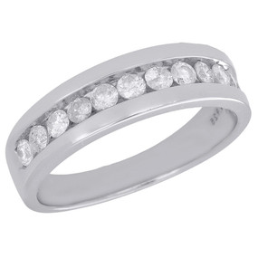 925 Sterling Silver Mens Diamond Wedding Band Round Cut Engagement Ring 0.75 Ct.