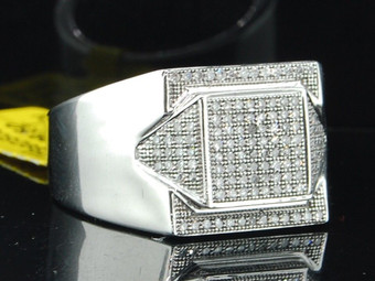 10K Mens White Gold Pave Diamond Pinky Ring Engagement Square Fashion Band .35ct
