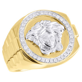 10K Two Tone Gold Real Diamond Statement Medusa Pinky Ring Step Shank 0.48 CT.