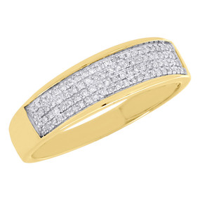 10K Yellow Gold Diamond Wedding Band Mens Round Pave Engagement Ring 0.25 ct.
