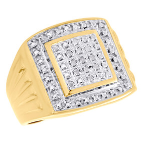 .925 Sterling Silver Yellow Tone Diamond Square Statement Pinky Ring 0.10 CT.