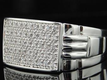 10K MENS WHITE GOLD .38C PAVE DIAMOND PINKY RING 12M