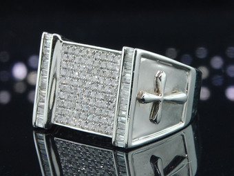 Diamond Cross Pinky Ring 14K White Gold Baguette Designer Wedding Band 1.06 Ct.