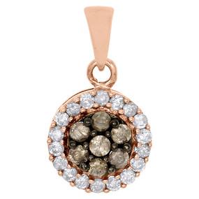 10K Rose Gold Champagne Brown Diamond Circle Cluster Pendant 0.40 CT.
