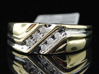 10K MENS YELLOW GOLD DIAMOND ENGAGEMENT RING 6 STONE WEDDING BAND 0.12 CT