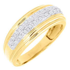 Diamond Wedding Band Mens 10K Yellow Gold Round Cut Pave Engagement Ring 1/4 Ct.