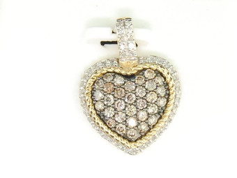 Brown Diamond Heart Charm Ladies 10K Yellow Gold Round Love Pendant 0.72 Tcw.