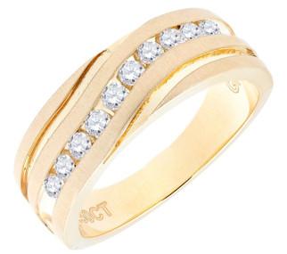 Diamond Wedding Band 10K Yellow Gold Round Cut 0.50 Ct Men's Comfort Fit Ring