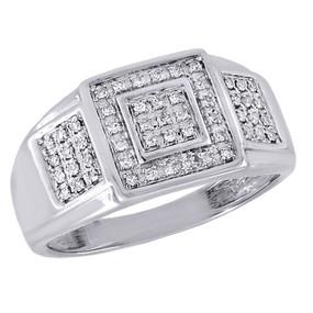 10K White Gold Round Cut Pave Set Diamond Pinky Ring Mens Fashion Band 0.25 Ct.
