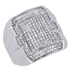 10K White Gold Mens Round Cut Diamond Fashion Pinky Ring Pave Set Domed 0.52 Ct.