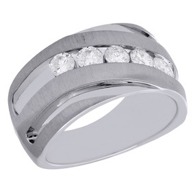 10K White Gold Mens Diamond Engagement Ring Brushed 5 Stone Wedding Band 1 Ct.