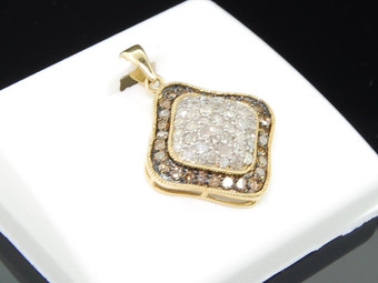 10K LADIES YELLOW GOLD 1 CT SQUARE PENDANT CHARM CHAMPAGNE BROWN & WHITE DIAMOND