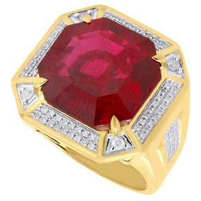 .925 Sterling Silver Genuine Diamond Pinky Ring Cushion Cut Ruby Gemstone .50 Ct