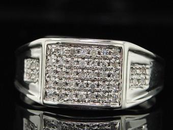 10K MENS WHITE GOLD .27CT DIAMOND FLAT FACE PINKY RING