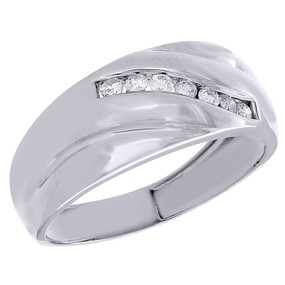 Diamond Wedding Band .925 Sterling Silver Engagement Ring 0.27 Ct.
