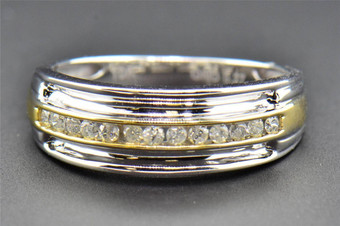 Diamond Wedding Band 10K Two Tone Gold Round Cut Mens Ring Channel Set 0.27 Ct