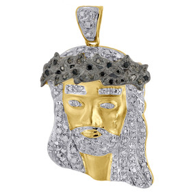 .925 Sterling Silver Diamond Jesus Face Piece Satin Pendant Pave Charm 0.26 Ct.