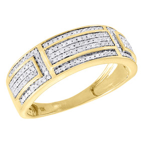 10K Yellow Gold Diamond Wedding Band Mens Round Cut Pave Engagement Ring 0.39 Ct