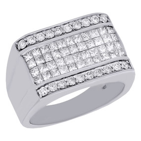 10K White Gold Princess Cut Diamond Pinky Ring Band 13mm Invisible Set  2.10 Ct.