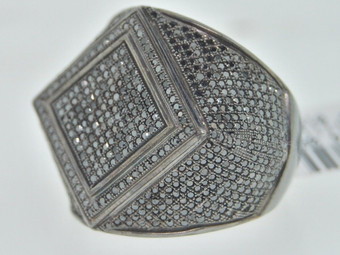 .925 Sterling Silver Round Cut Diamond Pave Designer Fashion Pinky Ring 2.07 Ct.