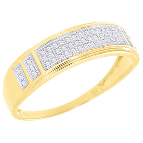 Diamond Pave Wedding Band Mens 10K Yellow Gold Round Cut Engagement Ring 1/5 Ct.