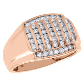 10K Rose Gold Genuine Diamond Pinky Ring Channel Set Statement Band 3/4 Ct.