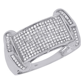 10k White Gold Diamond Anniversary Wedding Band Men Designer Pinky Ring 0.36 ct.