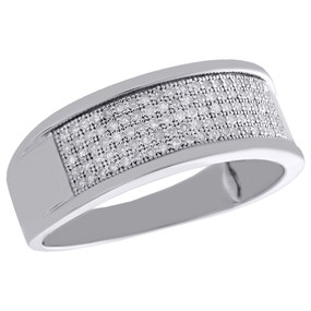 .925 Sterling Silver Pave Diamond Wedding Band Mens 8mm Engagement Ring 0.33 Ct.